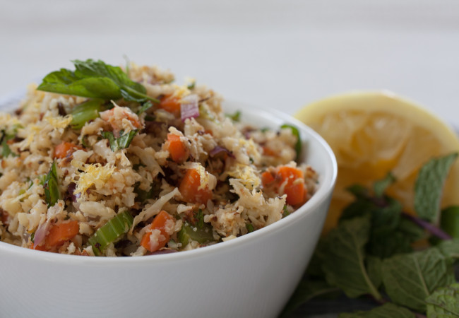 Cauli-Rice Pilaf with Apricot & Mint (AIP, Paleo, SCD, Whole30)