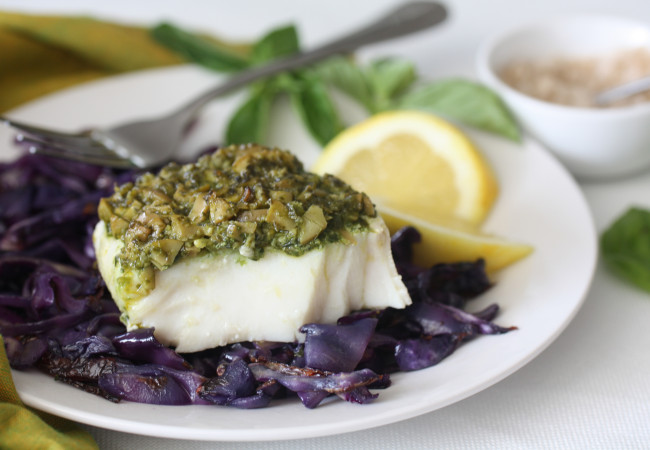 Olive-Pistou Crusted Fish (AIP, Paleo, SCD)