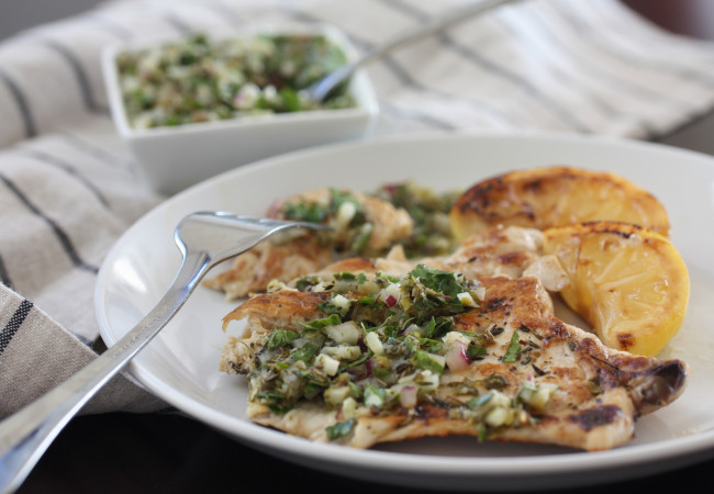 Chicken Scaloppine with Herbes de Provence Salsa Verde (AIP, Paleo, SCD)
